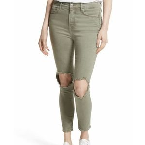 Free People Distressed Skinny Jeans Green Size 26